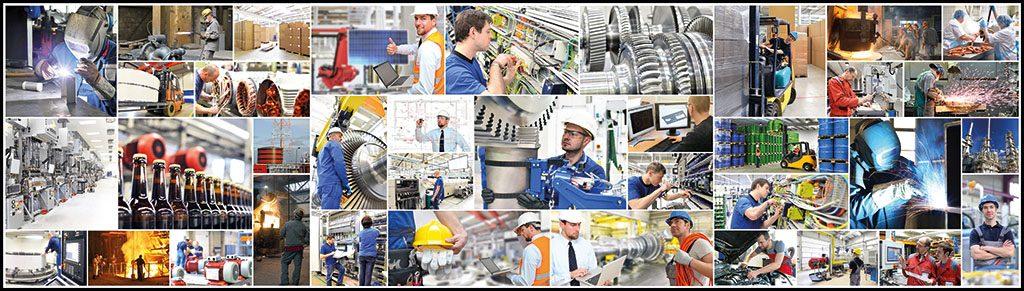 Collage mit Berufen und Gebuden in der Industrie // Collage with